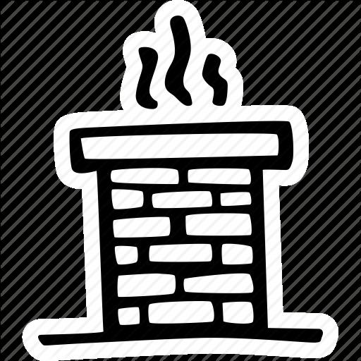vector freeuse stock Christmas hand drawn sticker. Chimney clipart brick chimney.