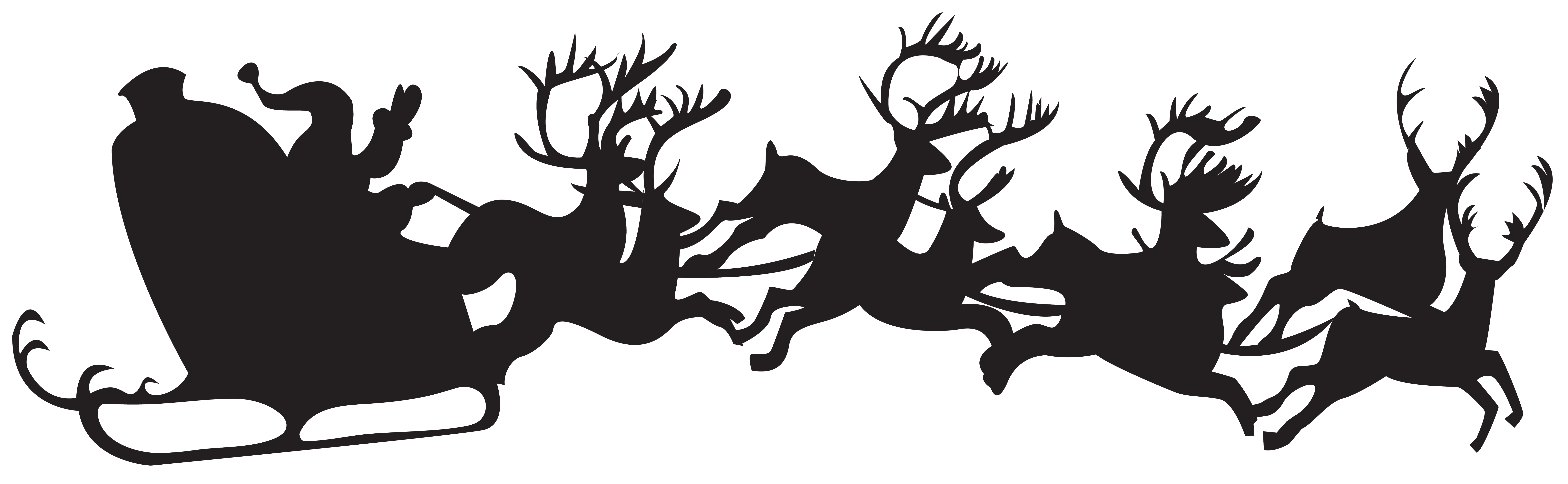transparent Christmas Silhouette Santa Claus with Sleigh PNG Clip Art
