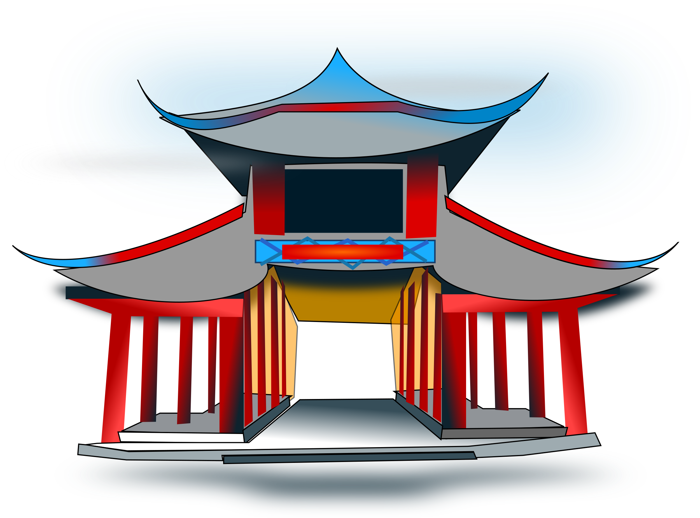 vector free library China clipart. Chinese architecure big image.