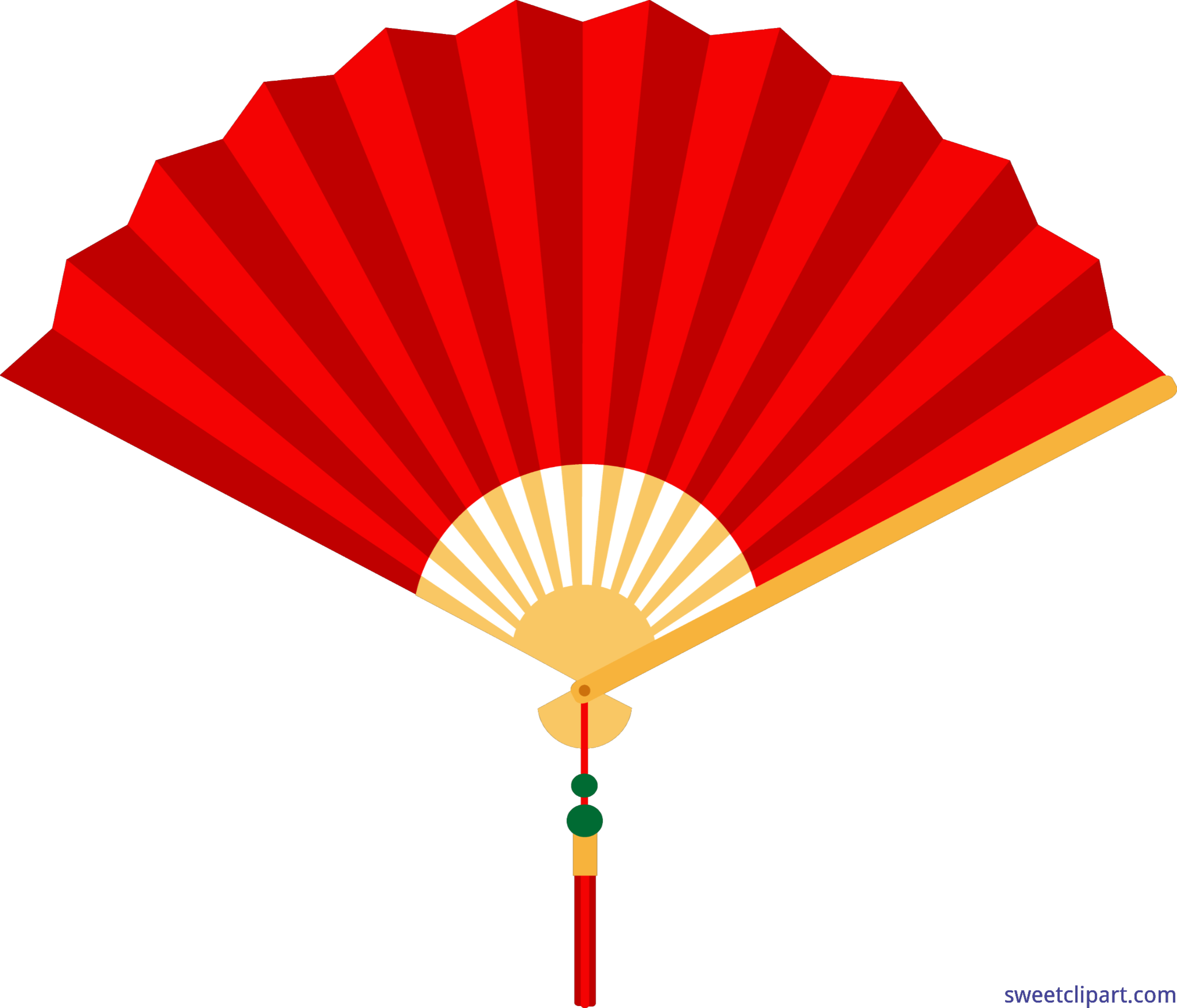 clipart transparent stock Chinese Fan Red Clip Art