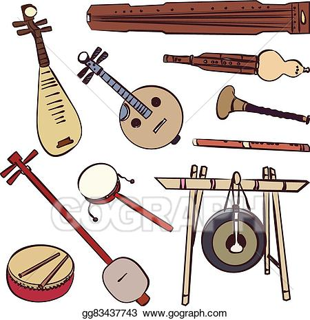 clip art black and white Eps vector traditional musical. Chinese clipart music chinese.