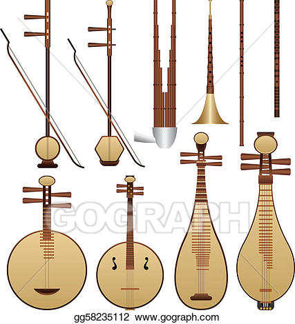 graphic free stock Chinese clipart music chinese. Eps vector instruments stock.