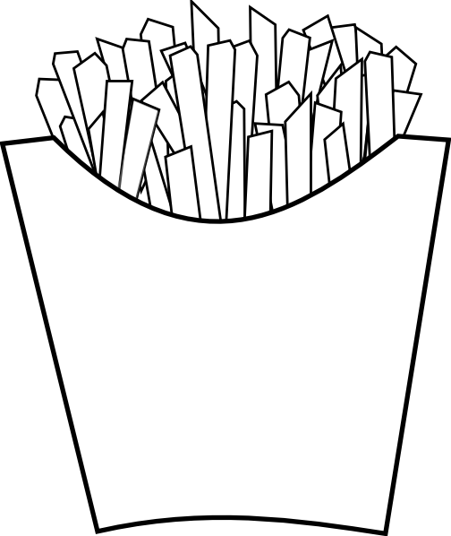 vector free stock French fries line art. Slice clipart fry