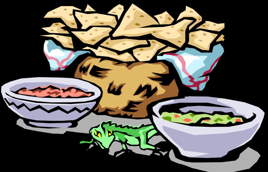 png transparent download Chips clipart salsa mexican. Corn guacamole vector image.