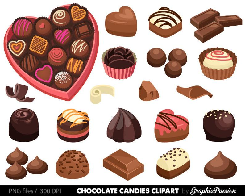 jpg freeuse library Chocolate candy clipart. Graphics desserts truffles box.