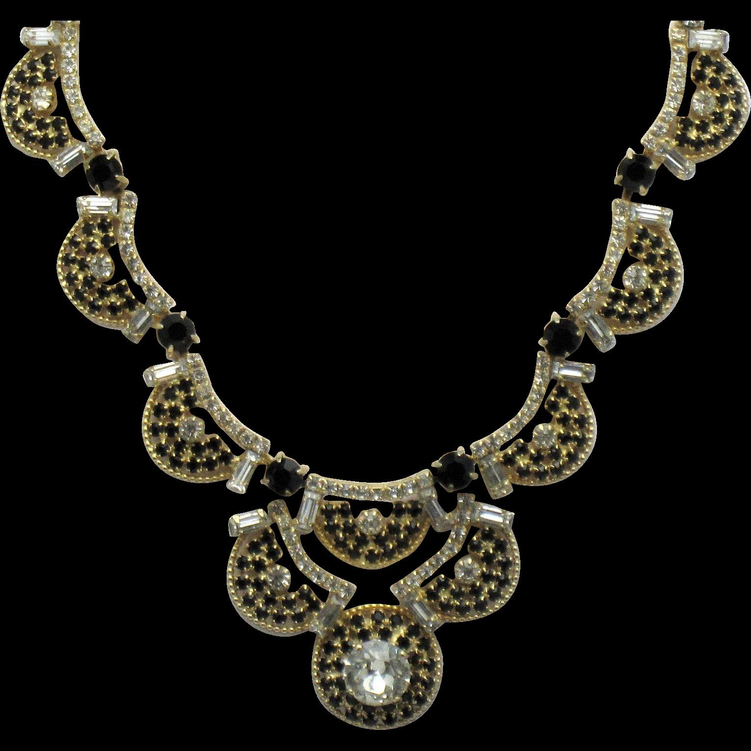 royalty free download Classy HOBE Black Clear Rhinestone Choker Necklace