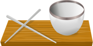 jpg stock Rice bowl with clip. Chopsticks clipart.