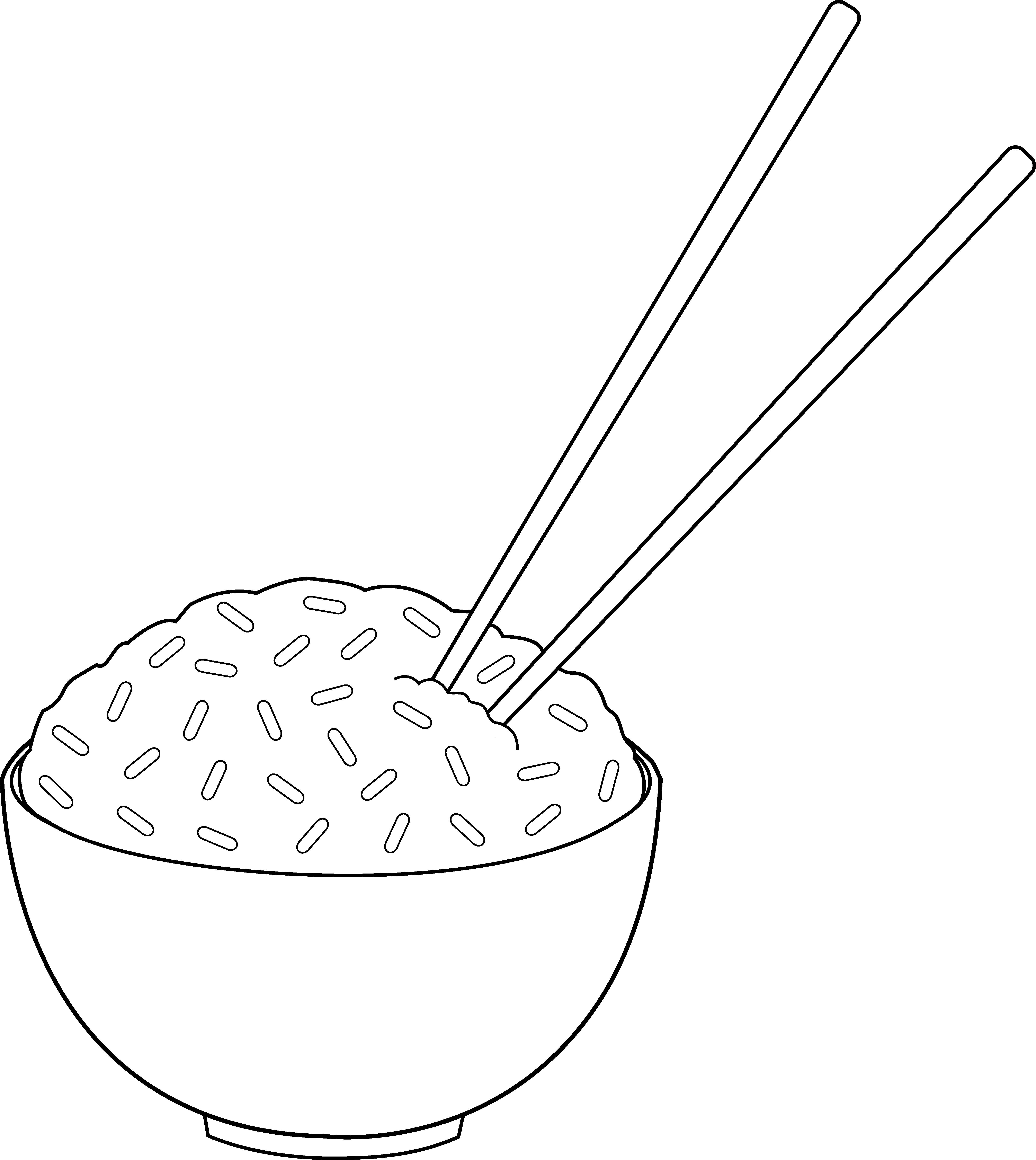 jpg download Chopsticks clipart drawing. Line art of rice.