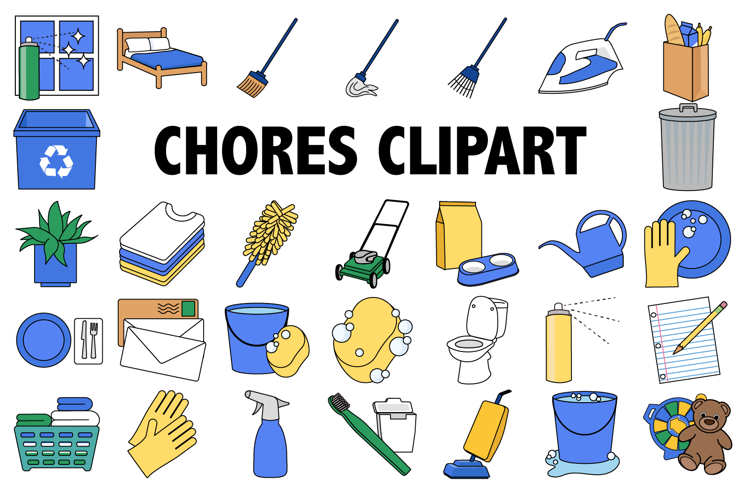 jpg black and white stock Chores . Chore clipart