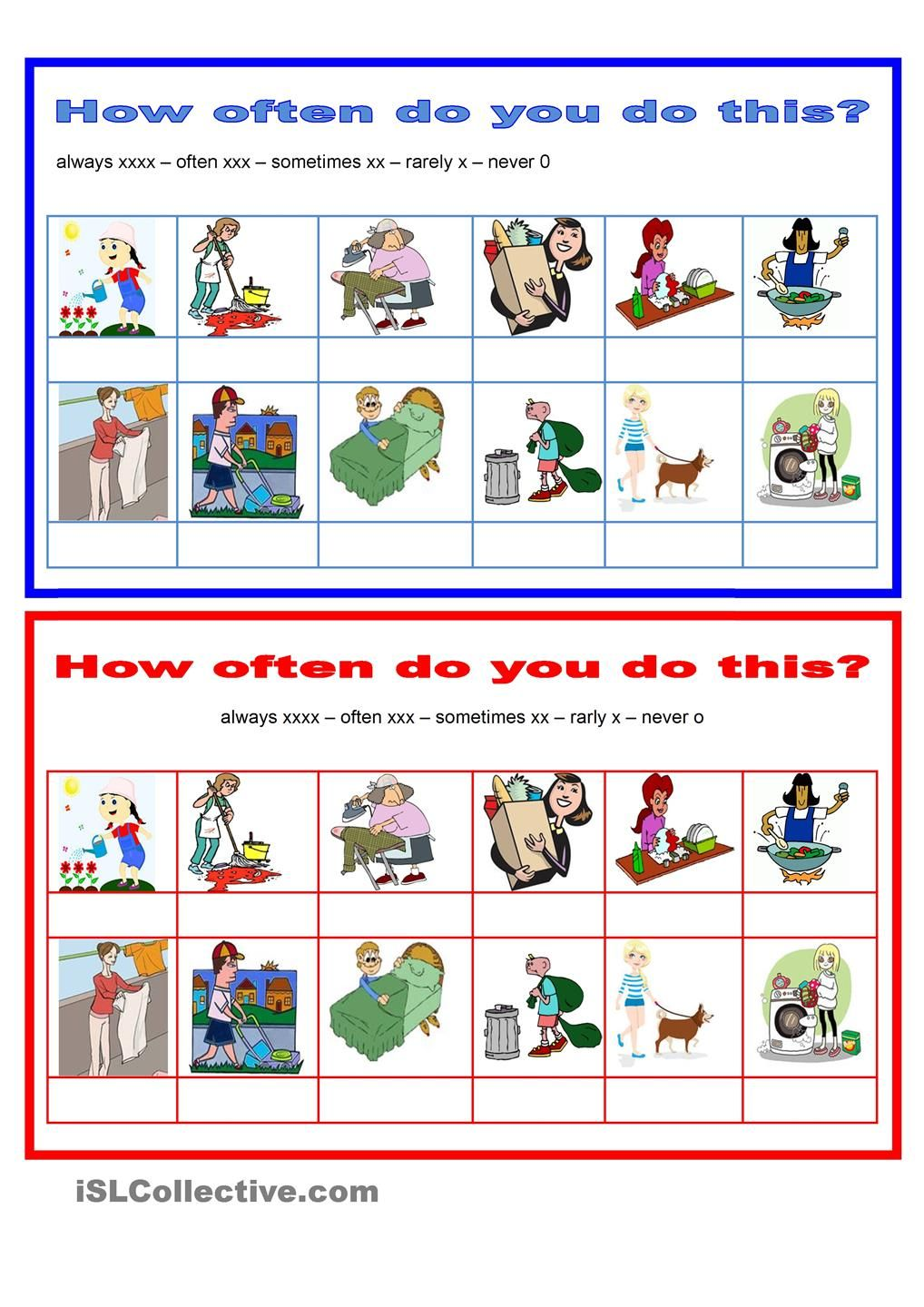vector free Adverbs how often household. Chore clipart adverb frequency.