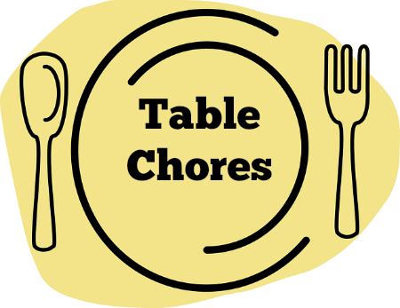 clip black and white stock Chore clipart load dishwasher. Table chores raising arrows.