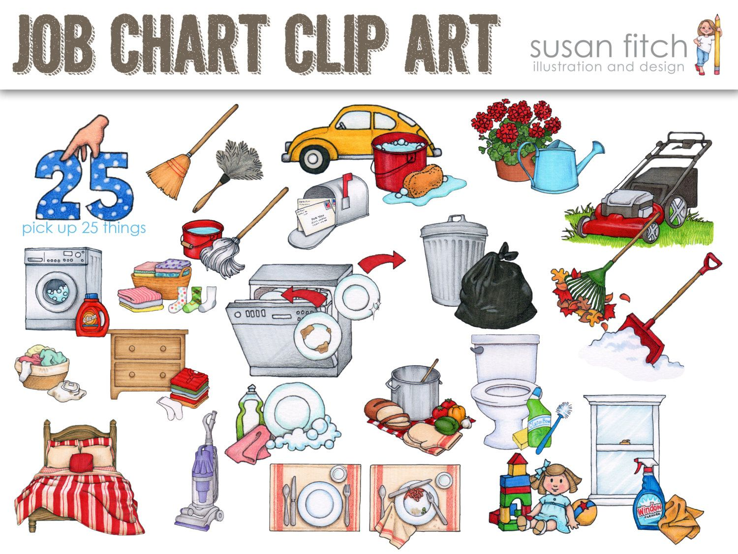 svg free library Chore clipart load dishwasher. Job chart clip art.