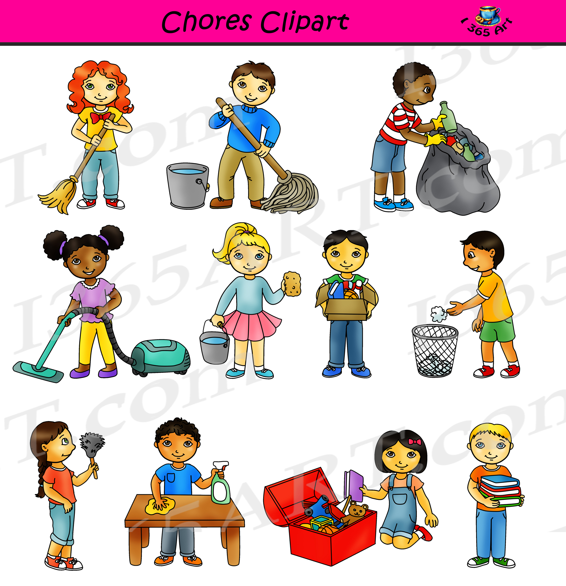 vector freeuse Classroom cleaning commercial graphics. Chores clipart.