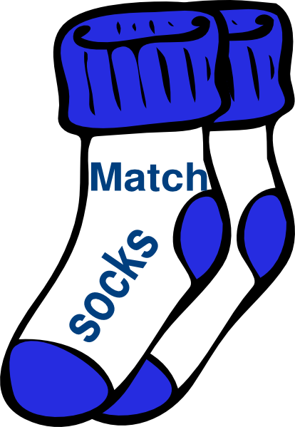 png free Blue match socks clip. Chores clipart.