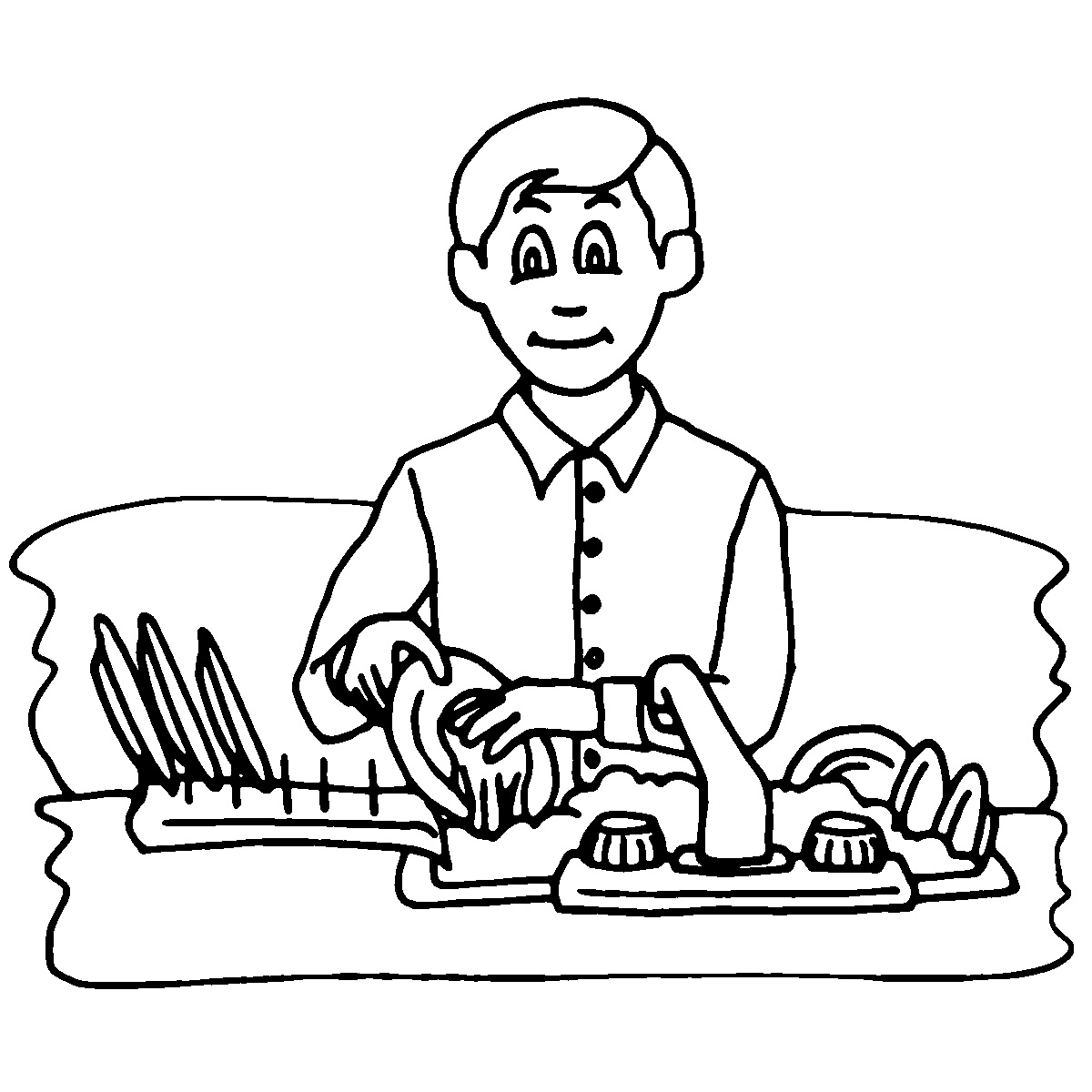 jpg black and white download Doing dishes wikiclipart . Chores clipart black and white.