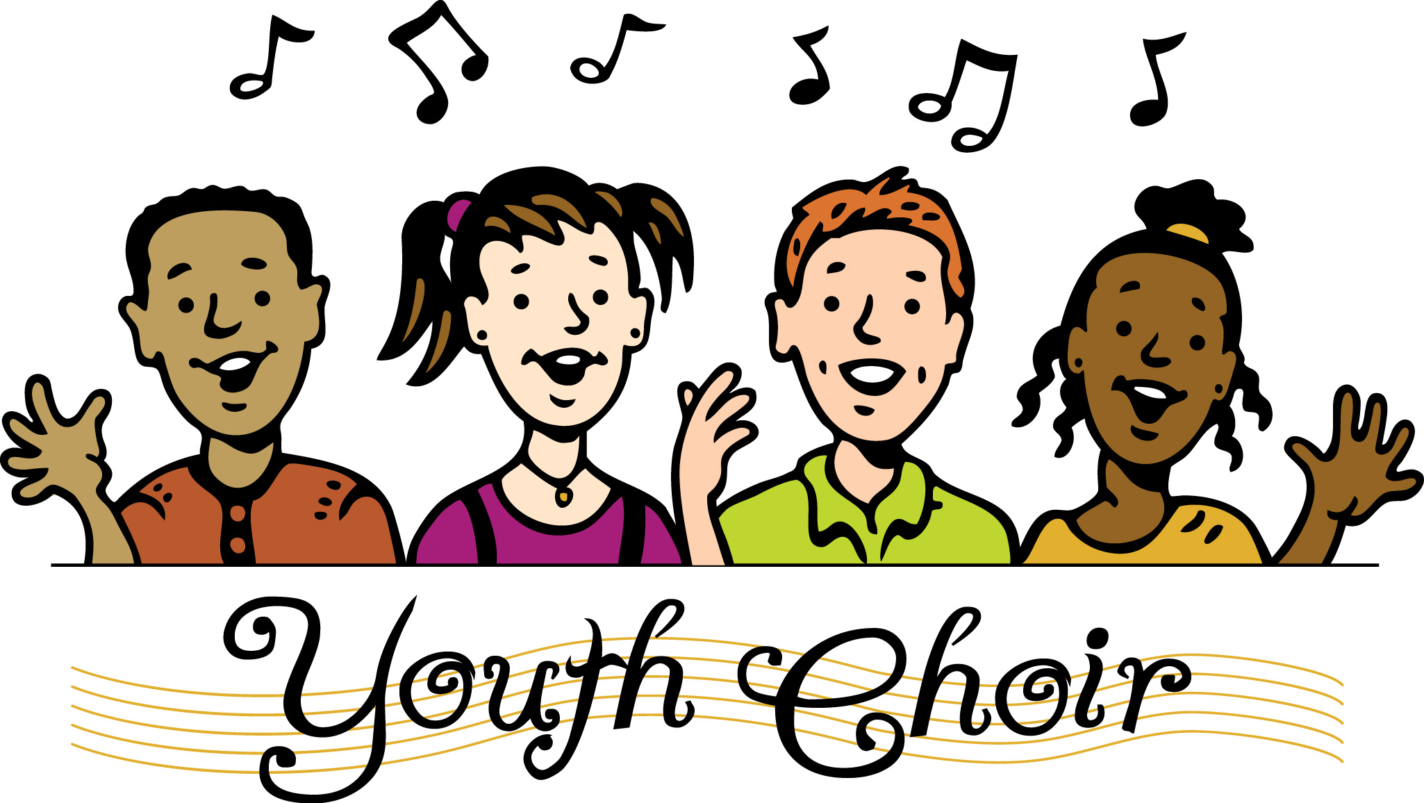 transparent download Chorus clipart child african american. Choir black and white