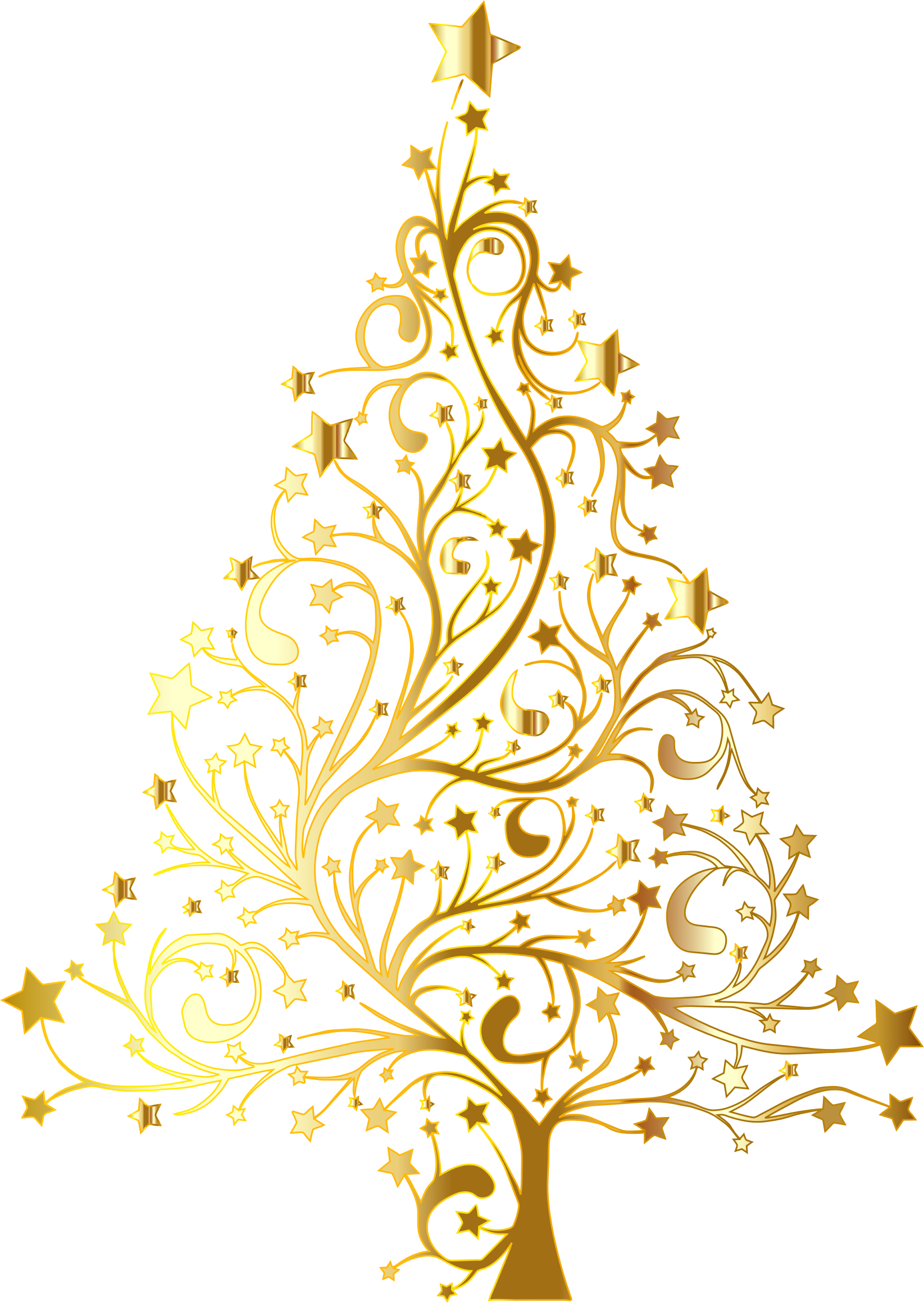 vector freeuse library Starry Christmas Tree Gold No Background by GDJ