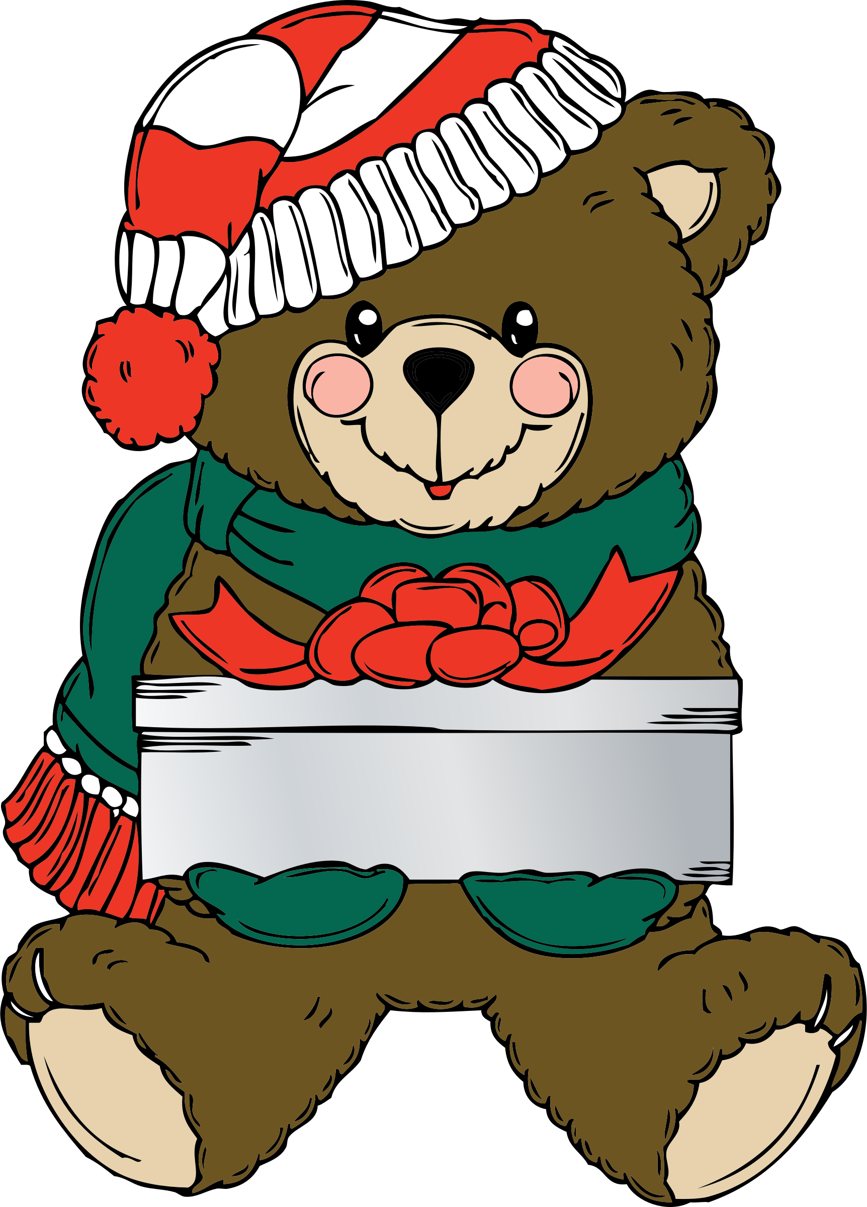 png library download Wih present big image. Christmas bear clipart