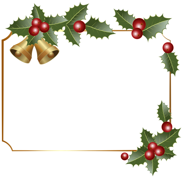 transparent library Border decor with bells. Christmas borders clipart.