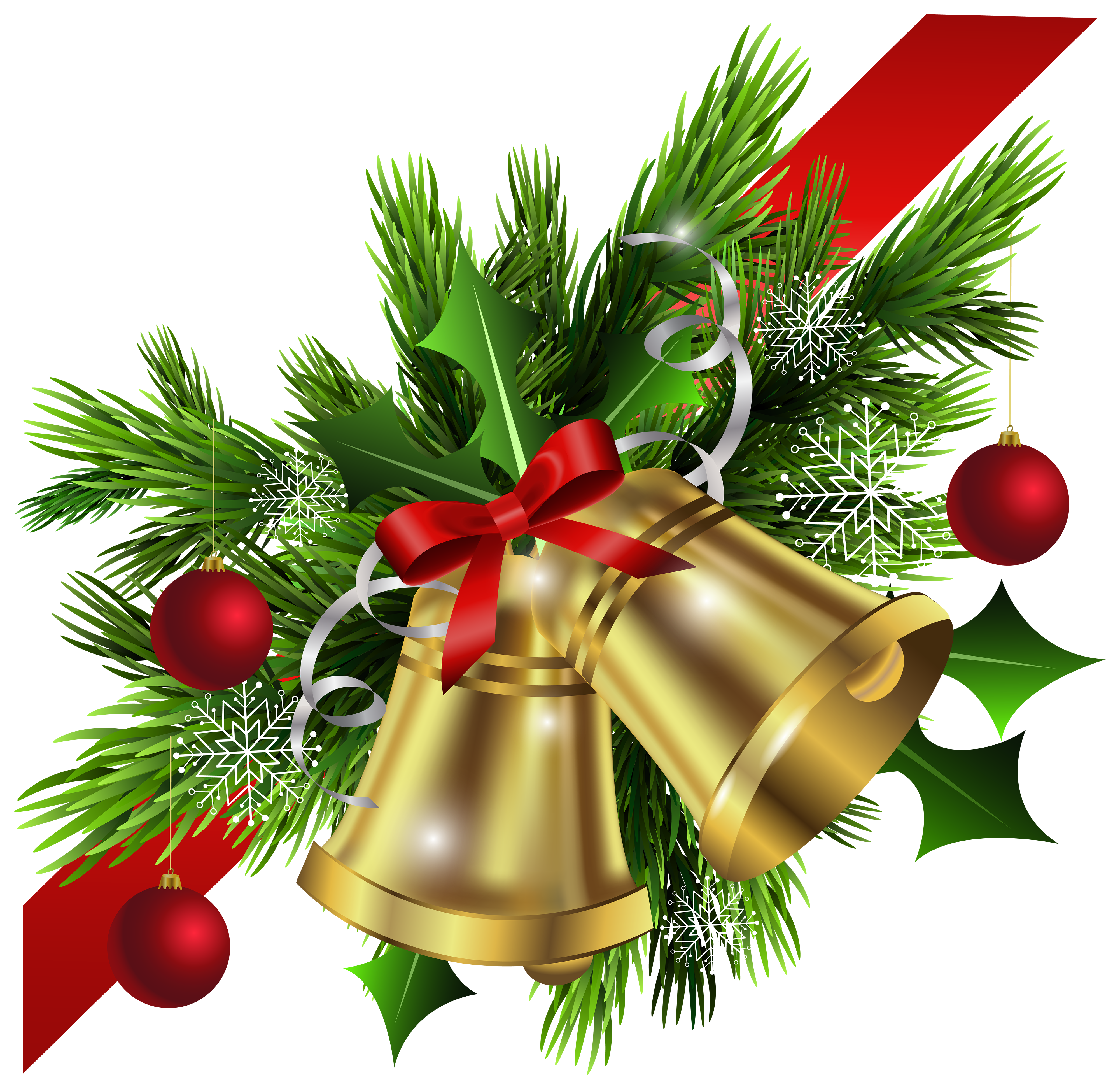 jpg royalty free stock Red bow and bells. Christmas clipart corner borders