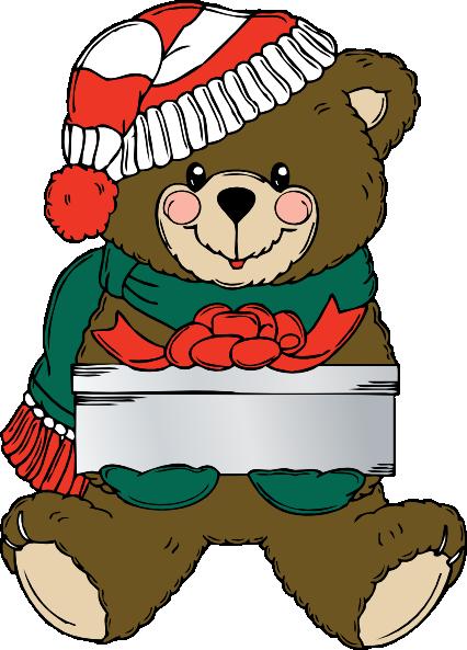 clip art black and white stock Christmas teddy bear clipart. Wih present clip art