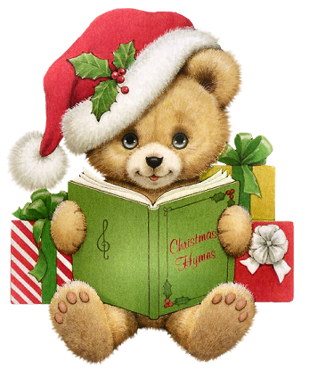 clipart royalty free download Christmas clipart bear. With book transparent png.