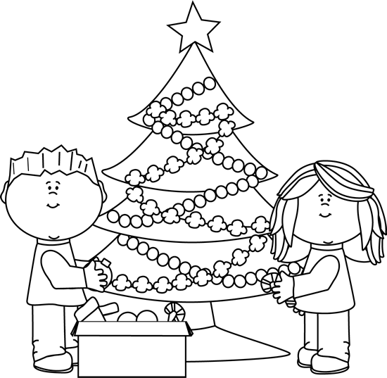 image transparent stock Kids decorating christmas tree. Trees black and white clipart