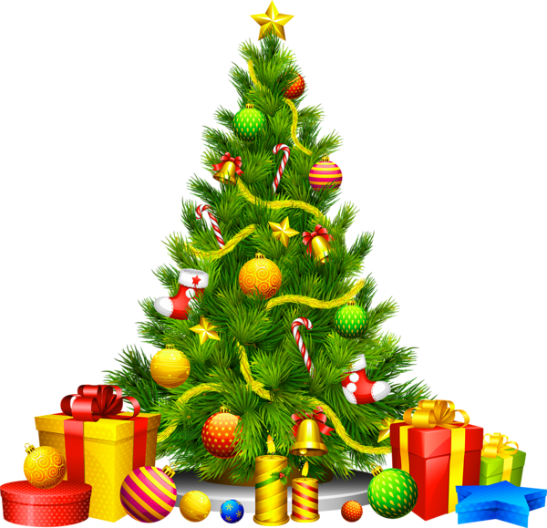 svg freeuse Large Transparent Christmas Tree with Presents Clipart