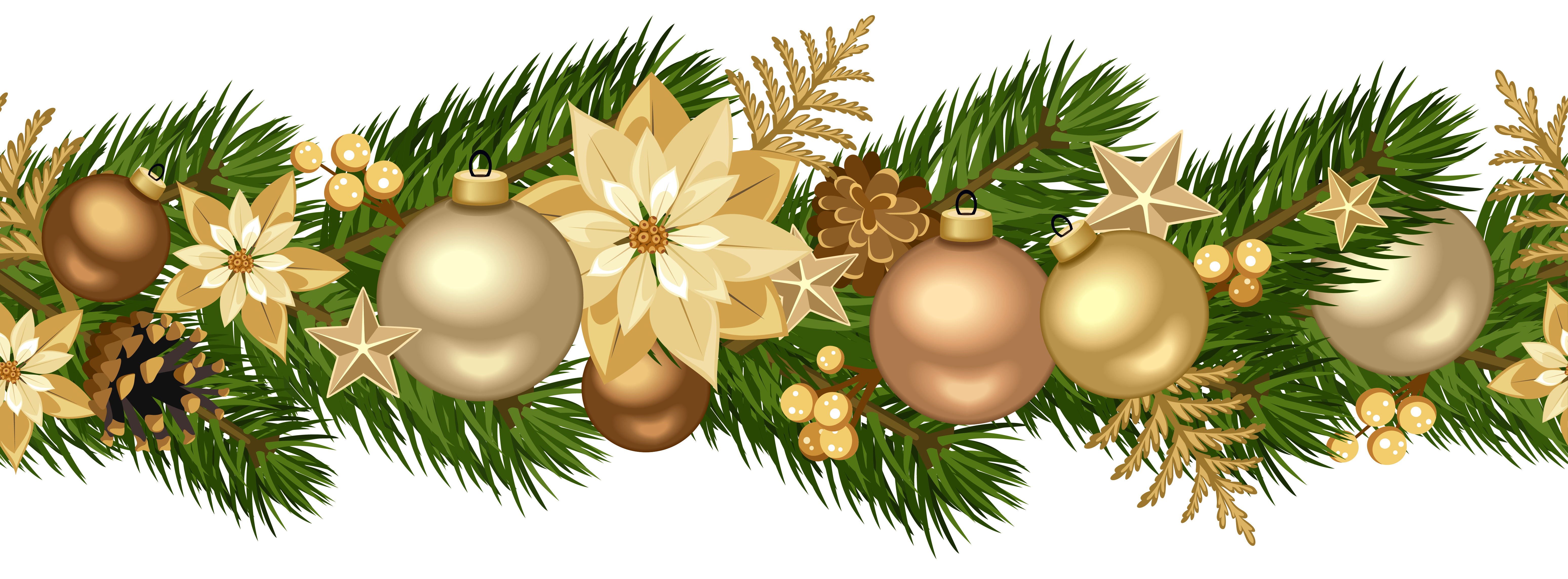 vector black and white Christmas Decorative Golden Garland PNG Clip Art Image