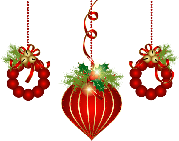 clipart black and white library Transparent Red Christmas Ornaments PNG Clipart