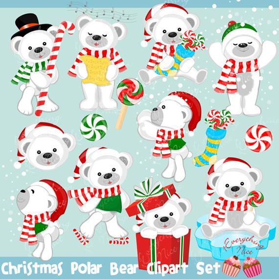 jpg library library Set . Christmas polar bear clipart