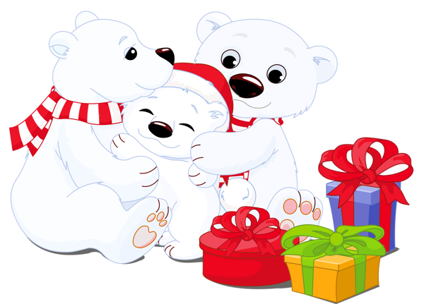 clip library download Christmas polar bear clipart. Transparent bears with gifts