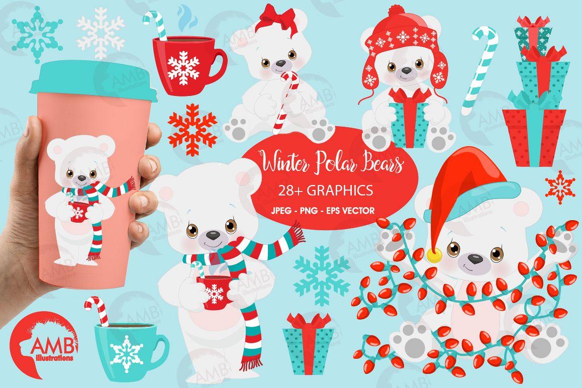 png transparent stock Winter illustrations amb . Christmas polar bear clipart