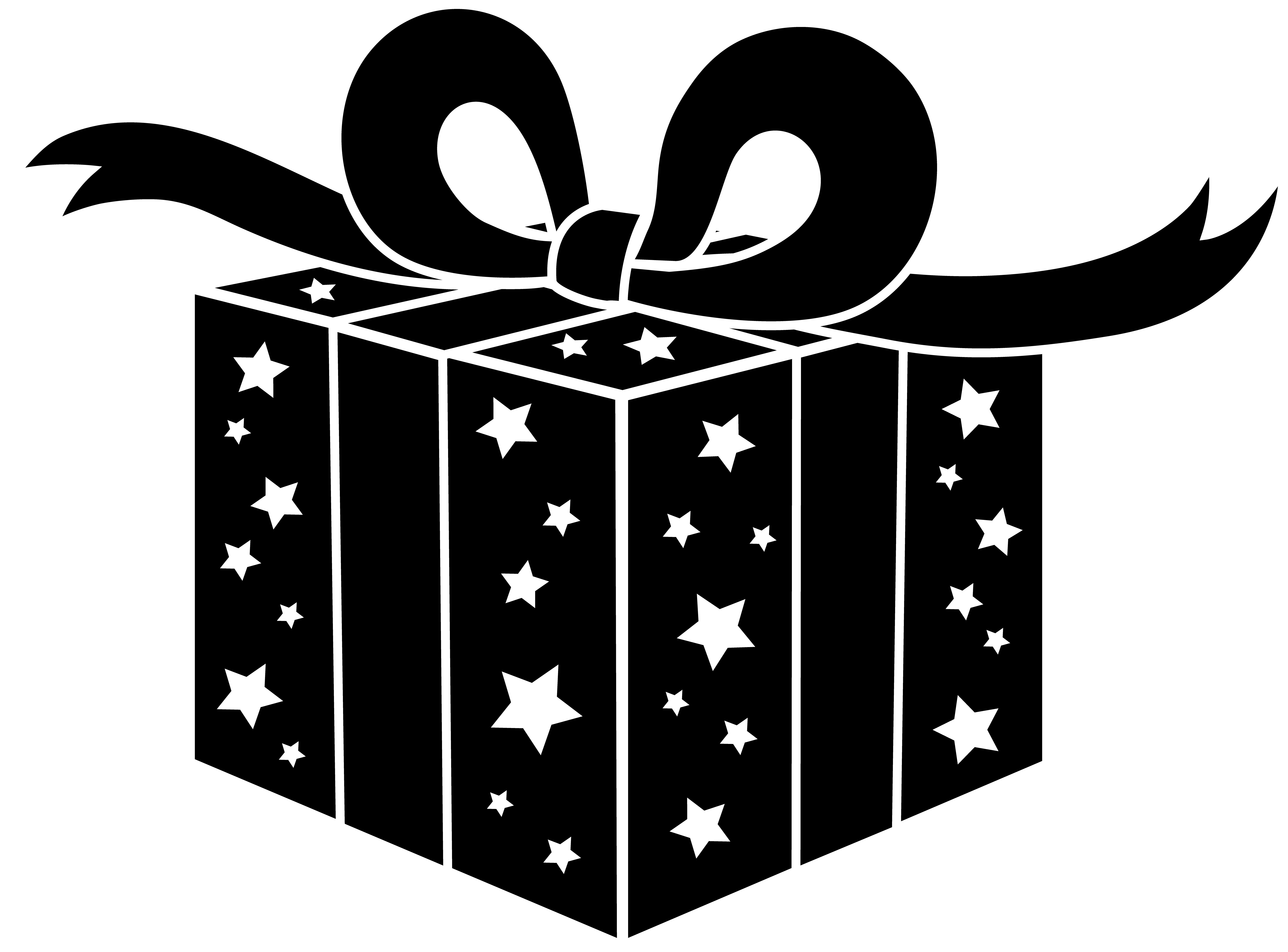 png free library Christmas Present Clipart Black And White
