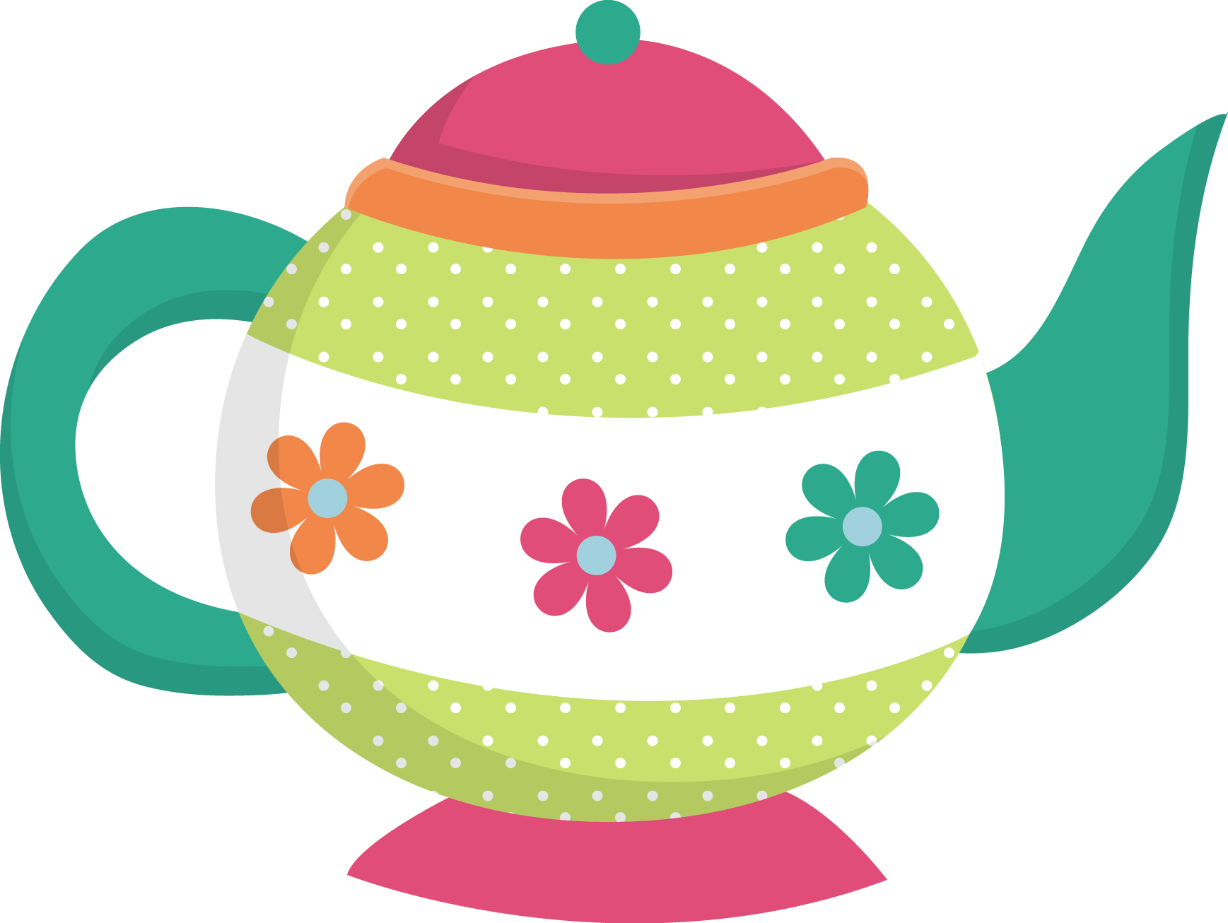 vector library download Pink vintage teapot clipart