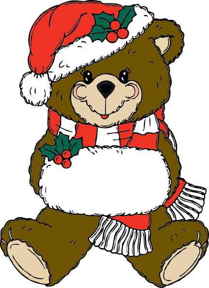 clip art black and white stock Christmas Teddy Bear Clip Art at Clker