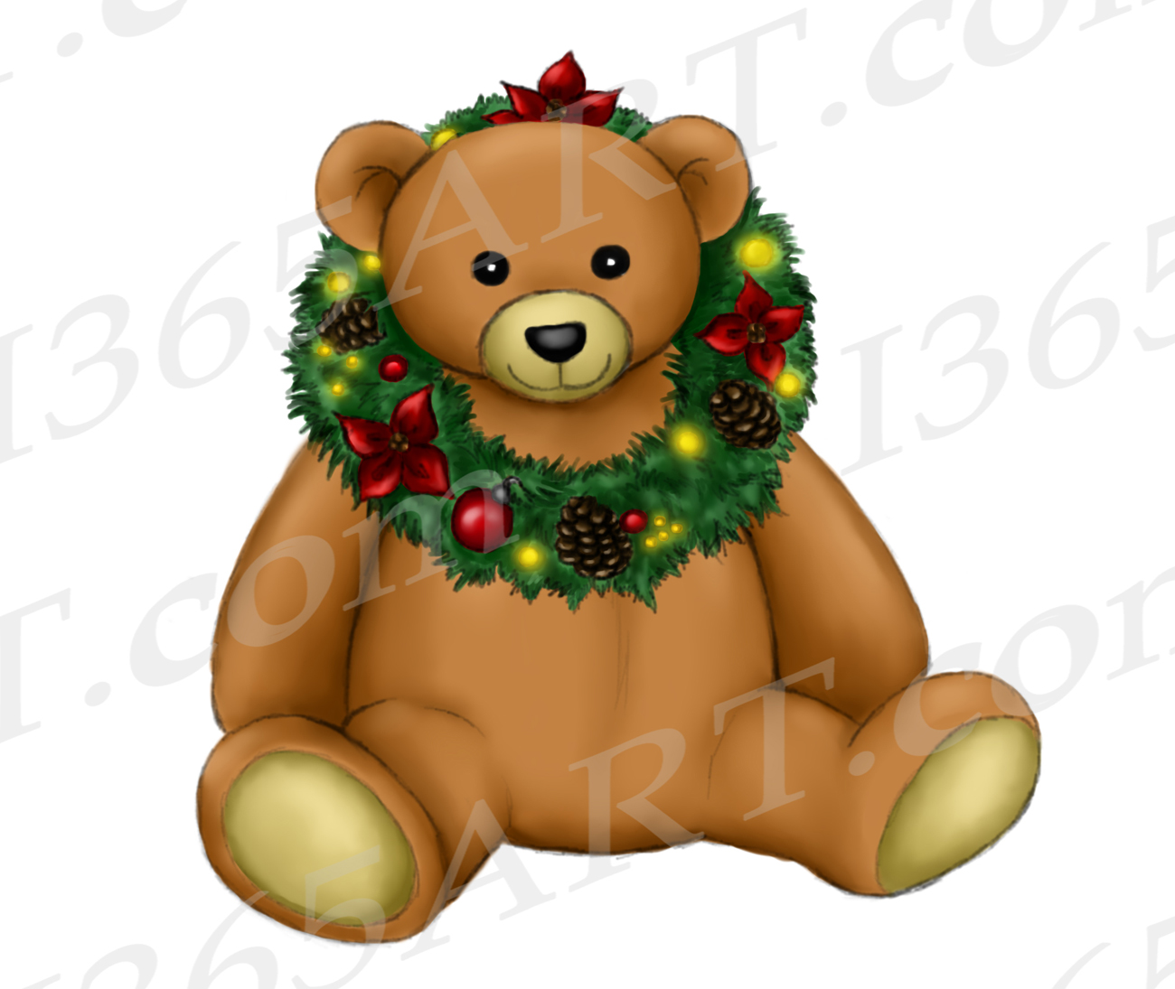 clip library stock Christmas teddy bear clipart. Watercolor png