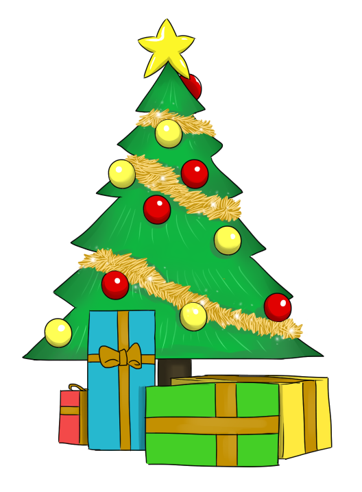 clipart transparent library Christmas Tree With Presents Clipart