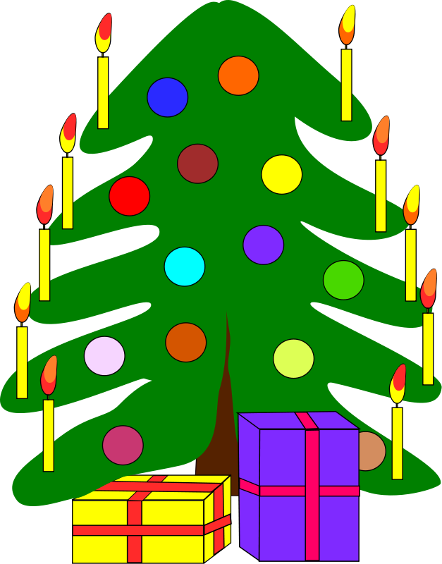 clip free Free stock photo illustration. Christmas tree with presents clipart