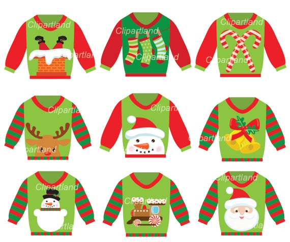 download Instant download clip art. Christmas ugly sweater clipart