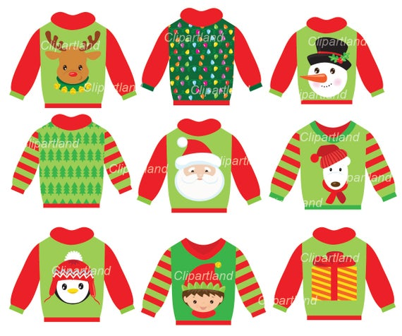 clip art stock Christmas ugly sweater clipart. Instant download clip art.