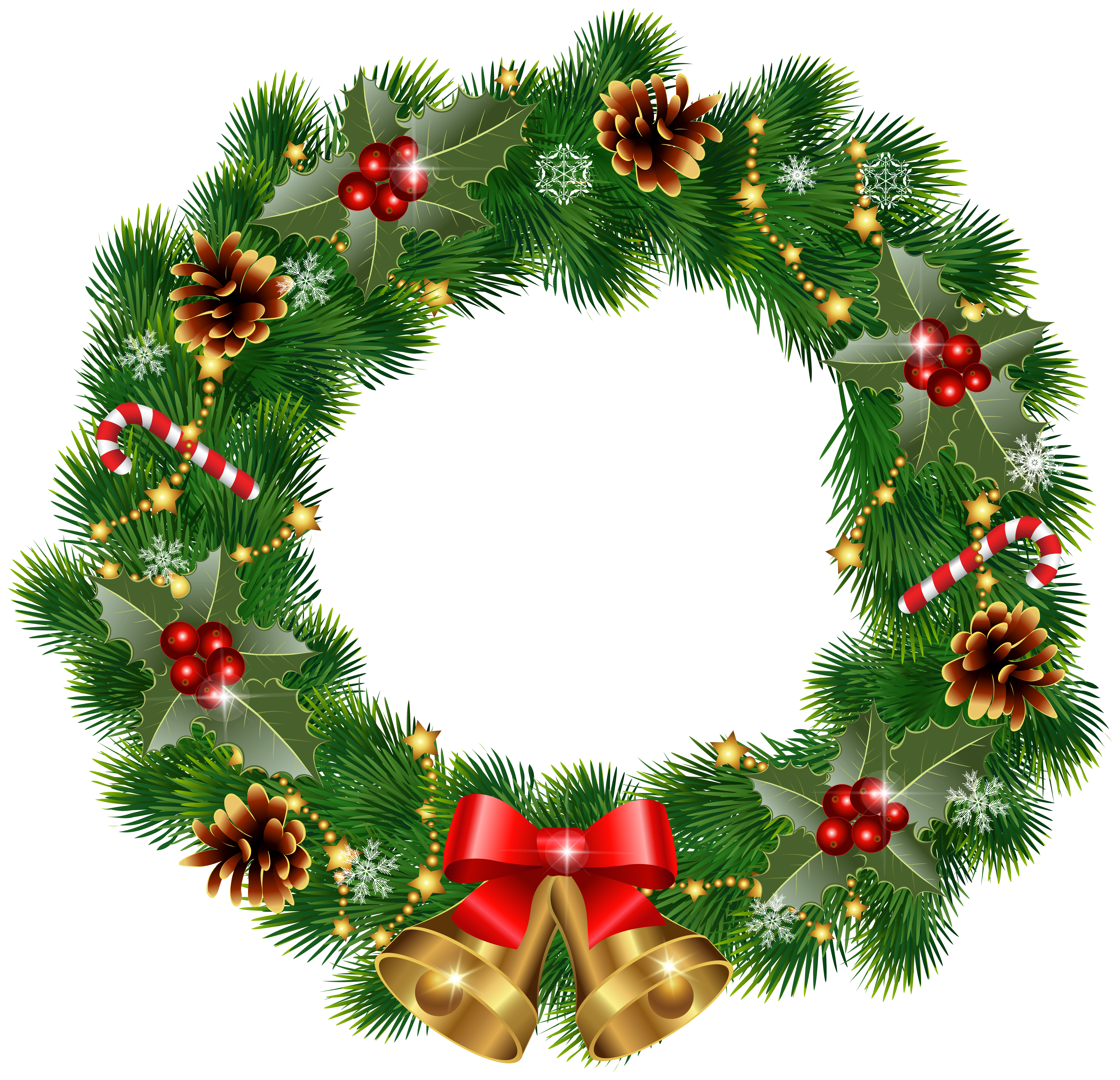 jpg black and white download Christmas wreath clipart. With bells png image