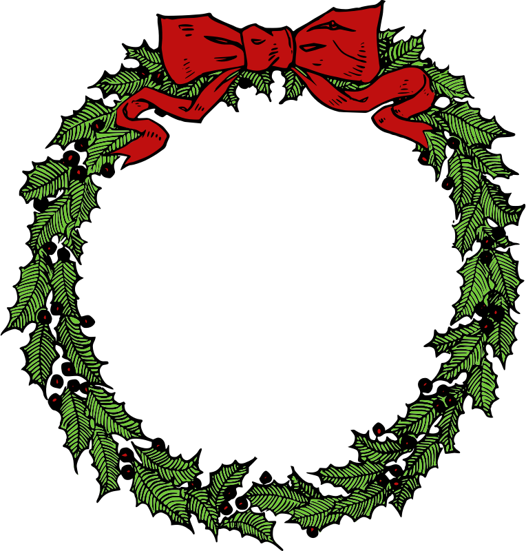 clip art library stock Clip art library christmas. Wreath clipart black and white