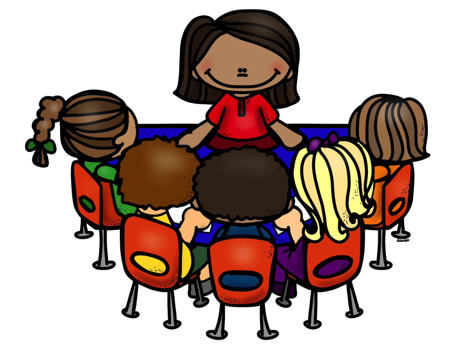 clipart library library Children at kidney table. Teacher reading to students clipart