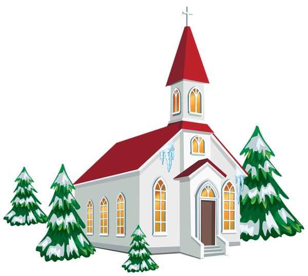 graphic free download Church clipart. Winter with snow trees
