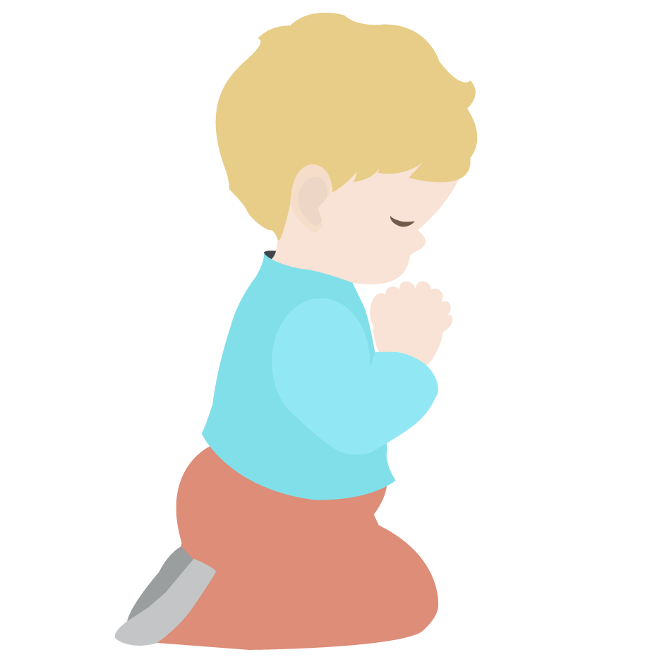vector stock Images for in church. Kid praying clipart.