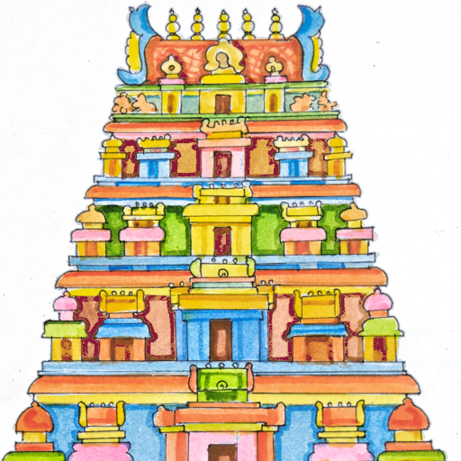 clipart freeuse library Kovil pencil and in. Church clipart hindu