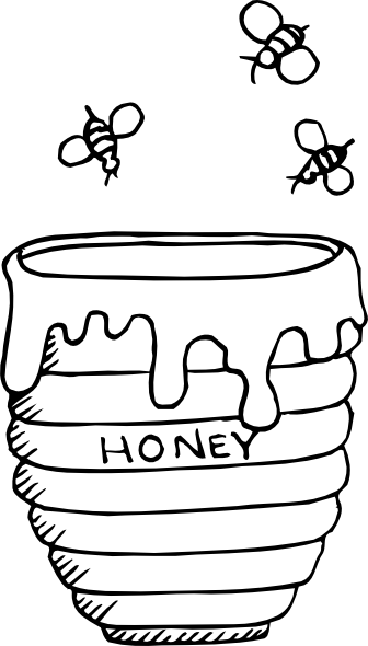 clip art freeuse Rosh hashanah clipart black and white. Jar of honey colouring