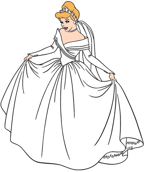 graphic stock Cinderella clipart black and white. Clip art disney galore