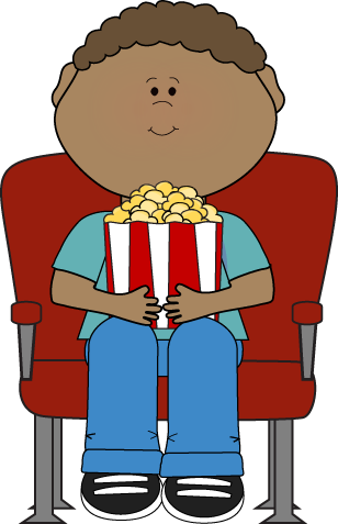 png black and white stock Cinema clipart comedy film. Movie group kid watching.